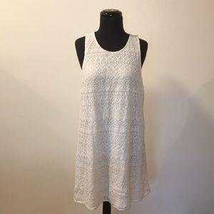 White Lace Summer Shift Dress Size L